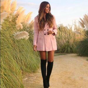 Zara pink blazer romper dress